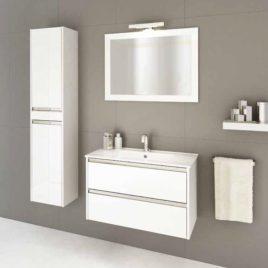 Mobile da Bagno Mobile bagno sospeso da 80 cm con due cassetti softclose e specchio Arredo Bagno Mobili da Bagno