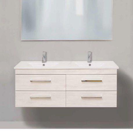 Mobile slim 121 doppio lavabo ceramica del turano for Specchio bagno doppio lavabo