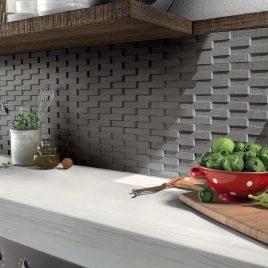 Serenissima Ceramiche Mosaico Bricks 3D Carbone